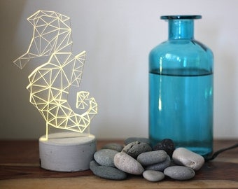 Grey concrete seahorse lamp, animal night light, seahorse night light, Nautical lamp