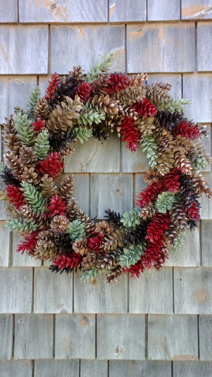 Christmas wreath large rustic pinecone red sage green