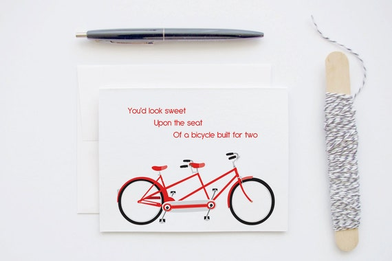 Red Tandem Bike - Bicycle Built for Two - Blank Greeting Love Card