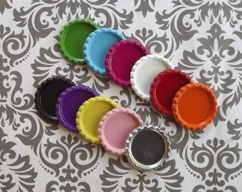 100 colored flattened bottle caps liner less You pick colors