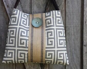 Handbag Tote with Grey and Natural Greek Key and Jute Webbing