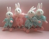 Easter Bunny Brooch Pin, pink or blue, spring bunny, fabric,egst, Greece