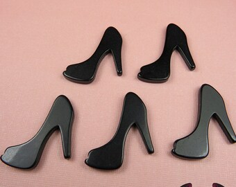 5 pcs Black HIGH HEEL SHOE Girly Resin Flatback Decoden Cabochon 25x30mm