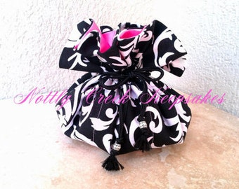 Jewelry Travel Bag / Drawstring Jewelry Pouch / Earring Holder / Cosmetic Organizer / Fabric Gift Bag / Black White / Carnation Pink