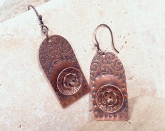 Double Etched Copper Layered Flower Earrings