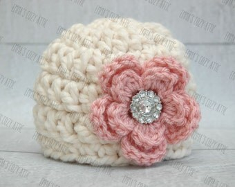 Newborn baby girl hat baby girl photo prop flower beanie ecru and pink chunky soft infant girl photography prop crochet knit baby hat