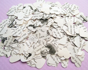 Alice In Wonderland Heart Novel Book Confetti - Choose from 250, 500, 750 or 1000 - Wedding Vintage Table Decor Hearts