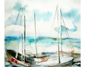 Seascape Fine Art Print of Original Watercolor Painting Seascape with Boats 12.5x15''