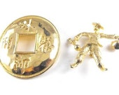 Asian Themed Goldtone Jewelry LOT Lucky Token Bell Boy Figural BOGO Sale