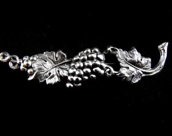 Stamped Silver Tone Grapevine Brooch Vintage Figural Jewelry