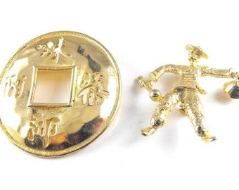 Asian Themed Goldtone Jewelry LOT Lucky Token Bell Boy Figural BOGO Sale
