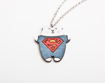 Superman Bear Necklace, Blue Pendant, Super Hero Necklace, Superman Necklace, Kids Necklace, Bear Pendant, Fun Jewelry, super man pendant