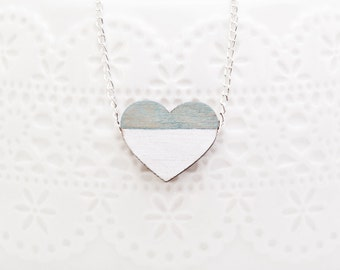 Wooden Heart Necklace, Blue White Pendant, Cute Heart Pendant, Valentine's Day Gift, Tiny Simple Necklace, Kids Jewelry, Cute Jewelry