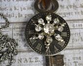 "Steampunk Antique Skeleton Key Rhinestone Necklace ""Infinity"""