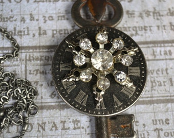 "Steampunk Antique Skeleton Key Rhinestone Necklace ""Infinity"""