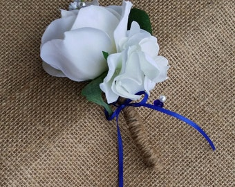 Ivory Rose Boutonniere - Real Touch Roses