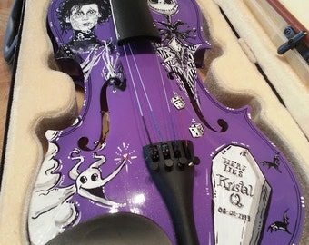 Hand Painted Edward Scissorhands, Nightmare Before Christmas Tim Burton Inspired Violin with Jack Skellington & Zero!