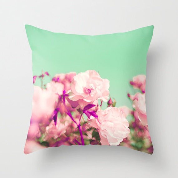 SALE Pillow cover, turquoise pillow, aqua pillow, mint pillow, purple pillow,pink pillow,rose pillow,flower pillow,couch pillow,french decor
