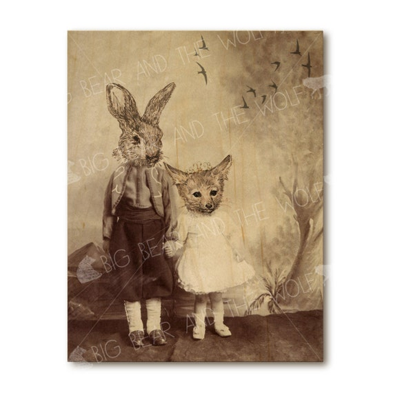 Art on wood, anthropomorphic wall decor, whimsical fox and rabbit, wood art