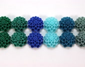12 pcs Resin Flower Cabochons - 15mm Dahlia - Lakeshore Colors Assorted Mix