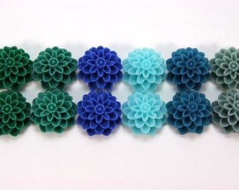 12 pcs Resin Flower Cabochons - 15mm Dahlia - Lakeshore Colors Assorted Mix