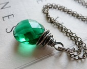 Emerald Green Quartz Necklace / Oxidized Sterling Silver / Faceted Teardrop / May Birthstone / Lush Green / SimplyJoli