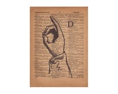 Letter D Typography Print, Dictionary Art, Rustic Wall Decor, Farmhouse Chic, Sign Language, ASL, 1800's Art Illustration