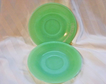 Fire King Jadite Jadeite Plates Jane Ray Saucers Set 4 Fire King Ovenware dishes