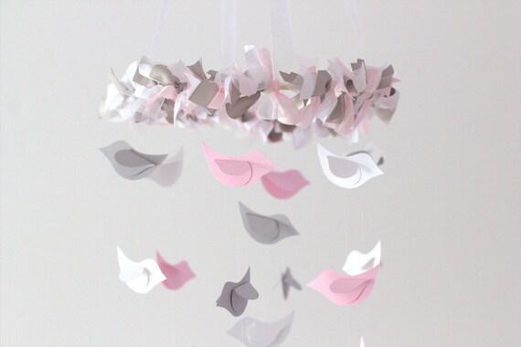 Pink & Gray Bird Mobile- Baby Nursery Mobile, Baby Shower Gift