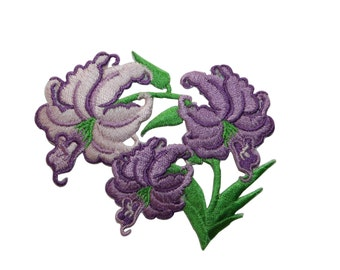 ID #6505 Leaning Purple Pink Lily Flowers Iron On Embroidered Patch Applique