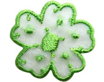 ID #8673 Green Daisy Garden Flower Blossom Embroidered Iron On Applique Patch