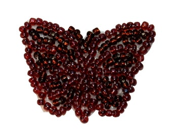 ID #8928 Dark Red Butterfly Garden Bug Insect Beaded Iron On Applique Patch