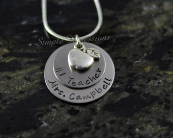 Customized #1 Teacher Necklace - Stainless Steel Necklace w/Apple Charm