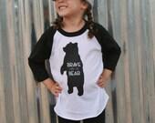 Brave as a Bear - Screenprint T Shirt - Kids Bear Tee Shirt - Bear Toddler T Shirt - Raglan T Shirt - Baseball T - Bear
