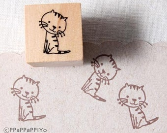 40% OFF SALE Cute kitty cat Rubber Stamp (20mm)