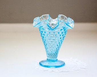 Fenton Blue Hobnail Vase