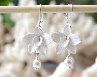 White Orchid Earrings, Swarovski Pearls,White Flower Earrings, Hand Sculpted, Bridal Jewelry, Bridal Earrings