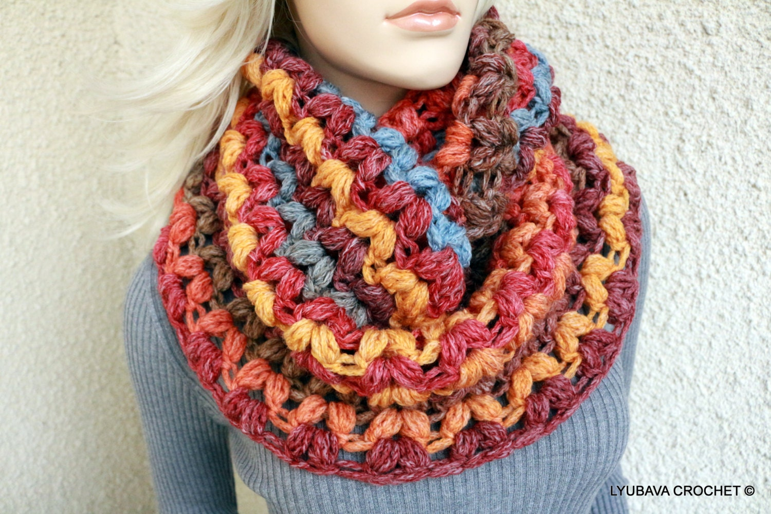 Crochet scarf pattern infinity scarf pattern crochet puff stitch this is a digital file bankloansurffo Image collections