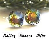 10mm Volcano Swarovski Rounded Corner Square Rhinestone Stud Earrings-Rare Crystal Studs-Large Volcano Crystal Earrings