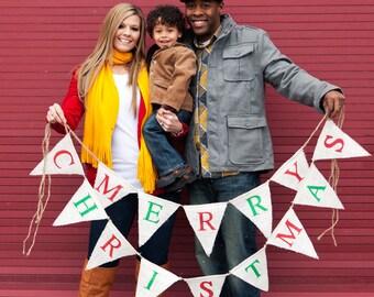 MERRY CHRISTMAS burlap banner - Christmas burlap banner - holiday home decor - christmas garland