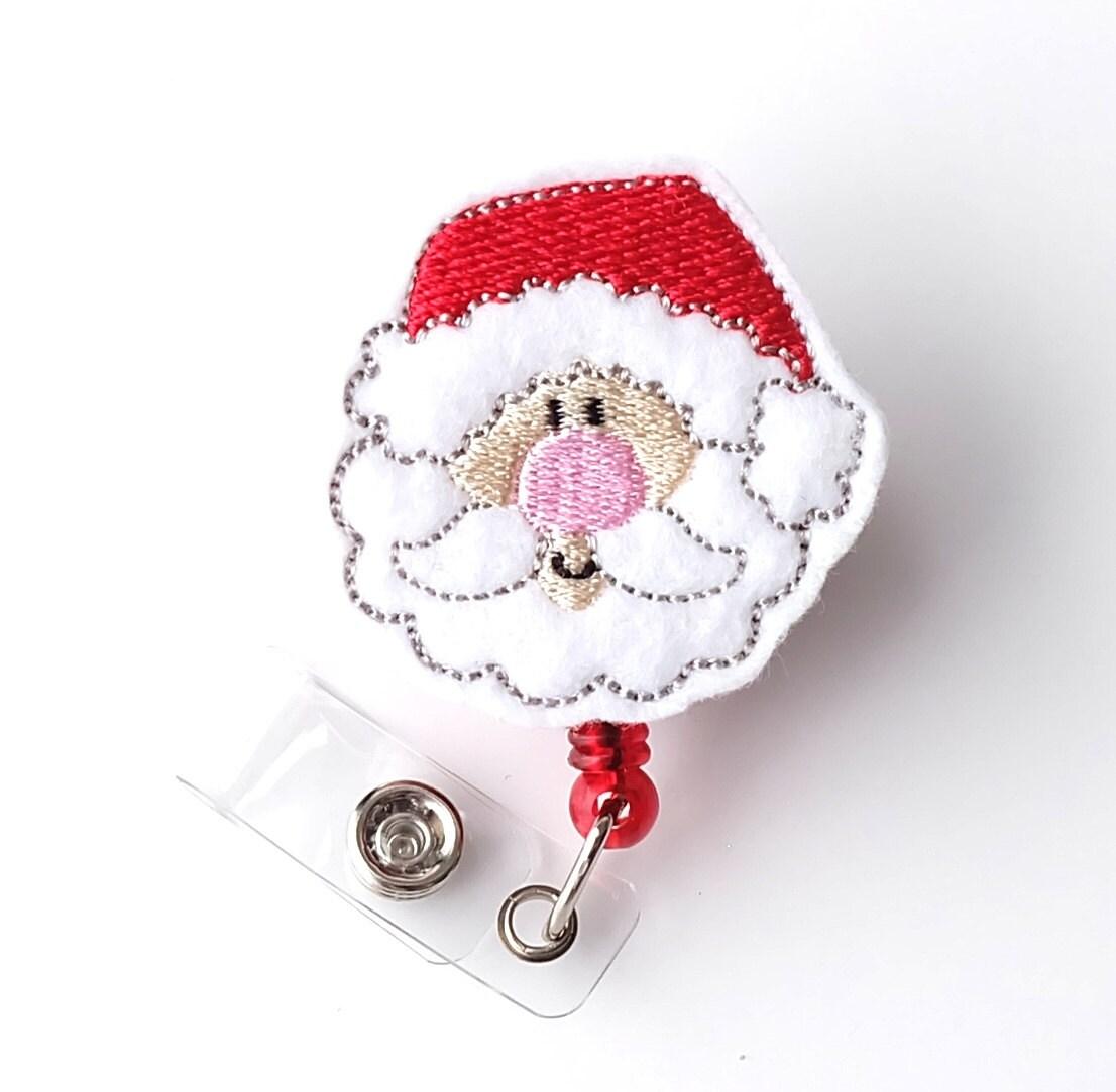 santa christmas name badge pulls cute nurse badge reels