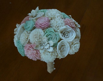 Wedding Bouquet, Sola wood Bouquet,  green and pink Wedding Bouquet, Alternative Bouquet, Bridal Bouquet, Sola flowers, Wood Bouquet
