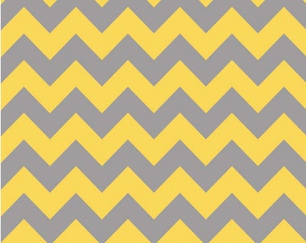 Medium Chevron Yellow/Gray by Riley Blake Designs -  1 Yard Cut - Chevron Fabric
