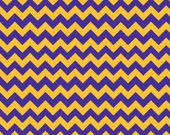 Small Chevron Purple/Gold by Riley Blake Designs - Fat Quarter Cut - Chevron Fabric
