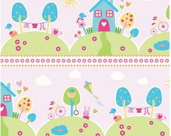 Sweet Home by Melly & Me -  Riley Blake Designs - Main Pink - 1 Yard Cut - Pink Fabric - Cotton Fabric