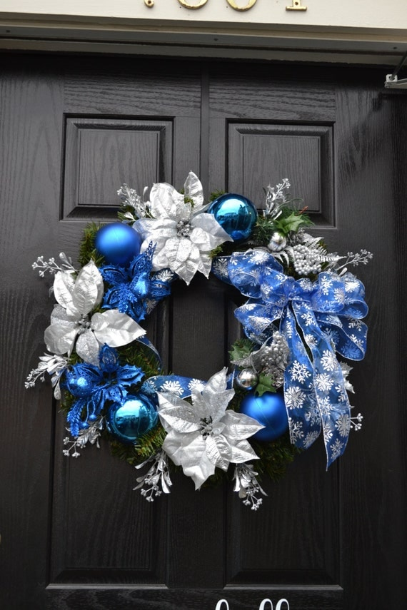 Items Similar To Blue Christmas Wreath On Etsy