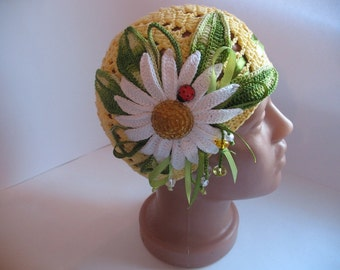 Beanie in Yellow with Big Daisy Camomile Cotton Summer baby child