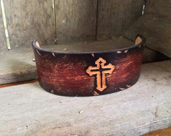 Cross Wristband hand- dyed genuine leather made to order can be personalized too!!!