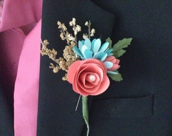 Paper Flower Boutonnieres for Groomsmen+ Coral and Teal