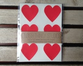 "48 1.5"" Red Heart Stickers Labels for Crafting, Weddings, Valentines, Envelope Seals, Scrapbooking"